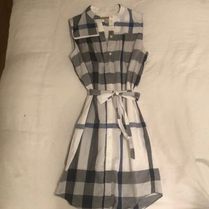 Burberry blue + white plaid belted dress